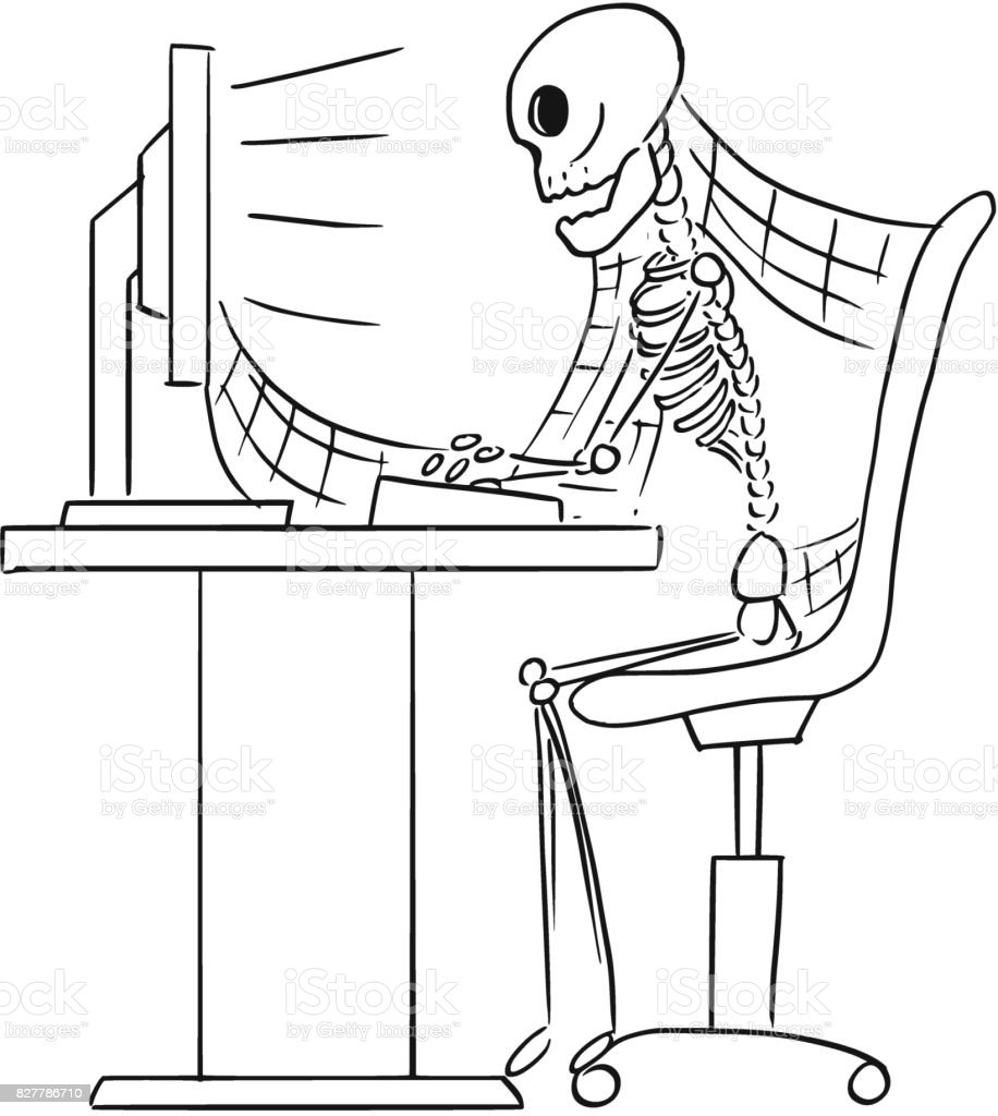 ölü Işadamı Ofiste Bilgisayar önünde Oturan Insan Iskeleti Karikatür