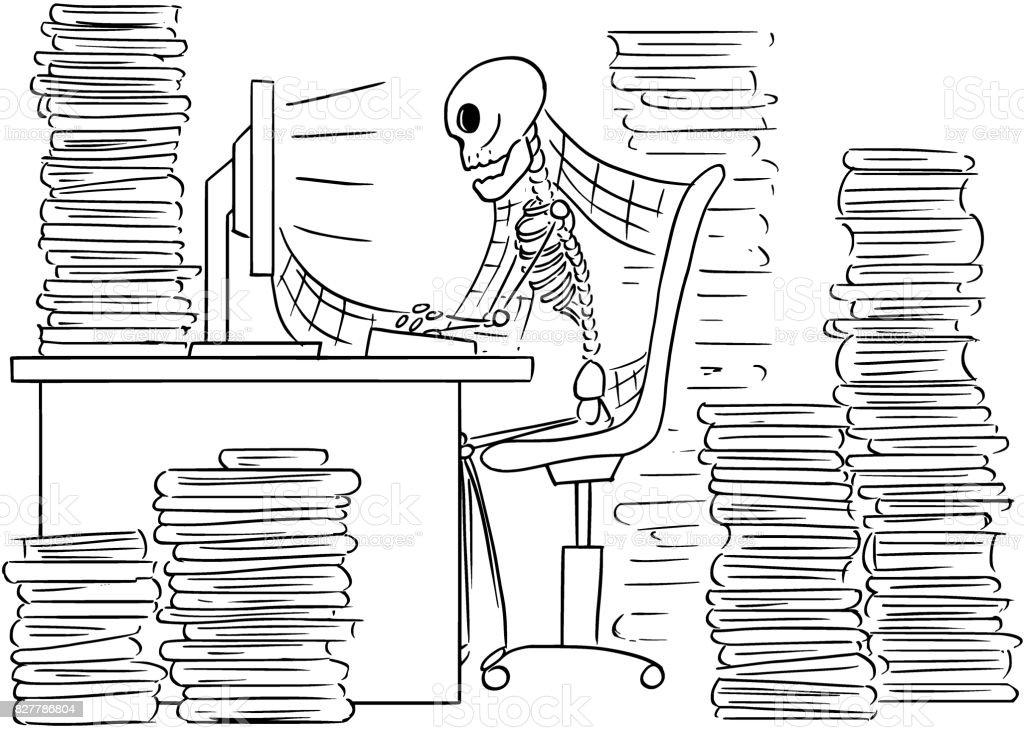 Karikatür çizimi ölü Işadamı Ofiste Bilgisayar önünde Oturan Insan