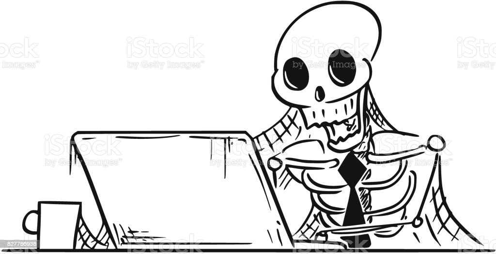 ölü Işadamı Bilgisayar Başında Oturan Insan Iskeleti Karikatür