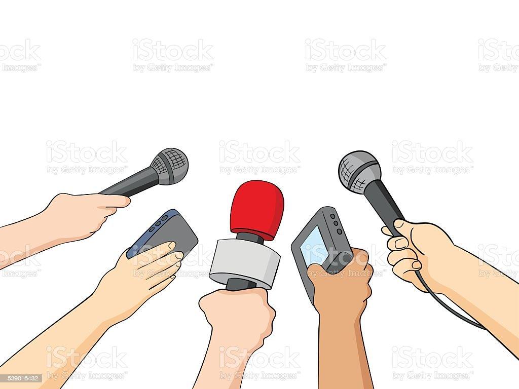 Cartoon Illustration of Journalists vector art illustration