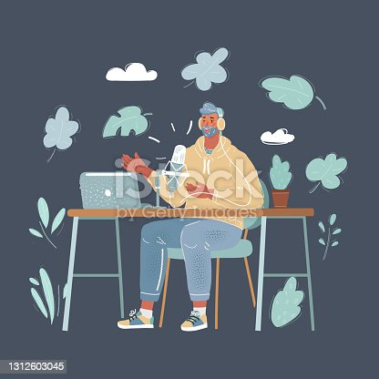 istock Cartoon illustration of male Presenter in radio station make live in Studio. Podcaster and broadcaster conept. Man make blog. 1312603045