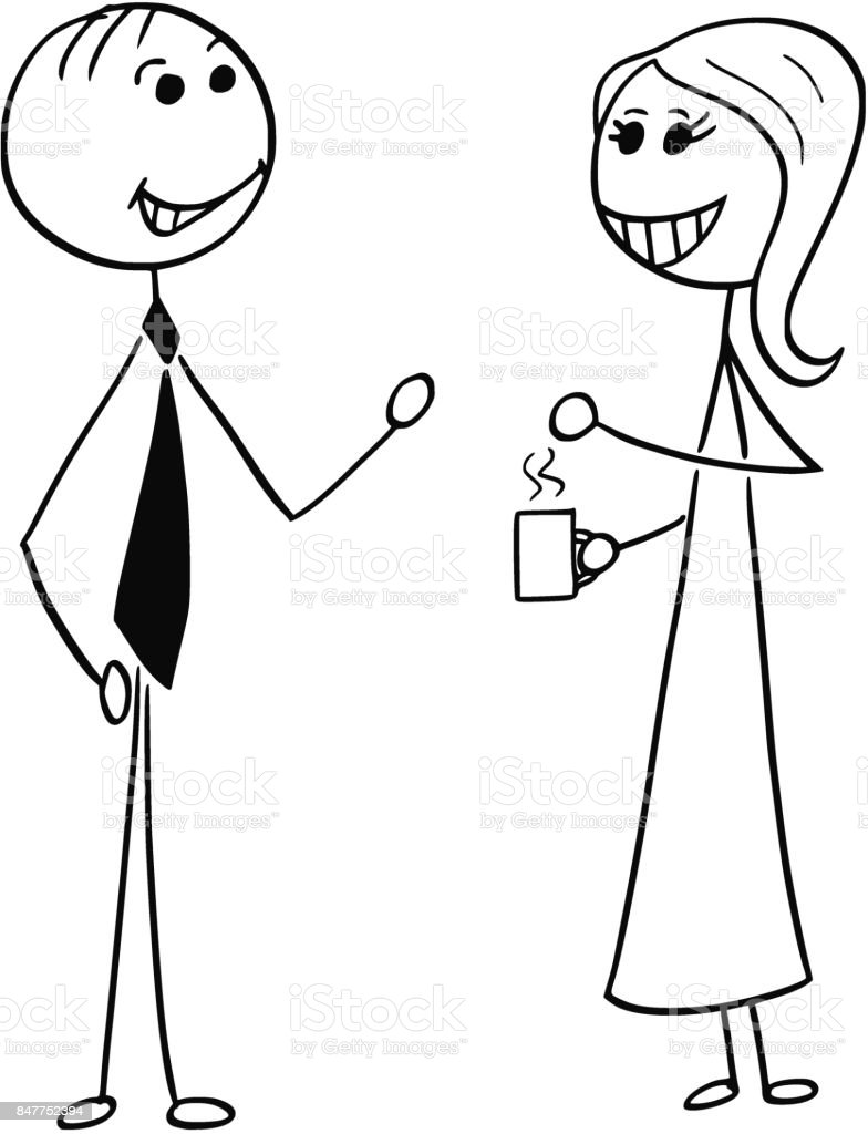 Cartoon Illustration of Man and Woman Business People Talking Chatting vector art illustration