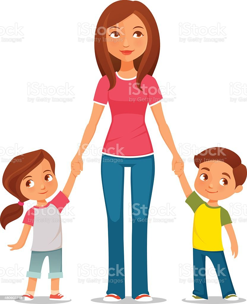 cartoon illustration of mother with two children vector art illustration