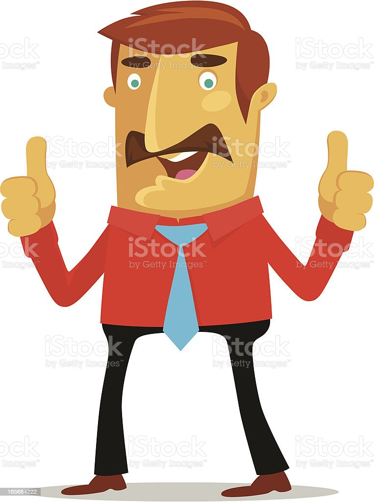 Cartoon illustration of moustached man with two thumbs up royalty-free stock vector art