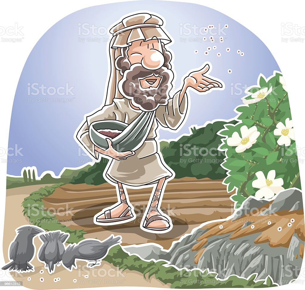 cartoon illustration of mythical bible story of the sower stock