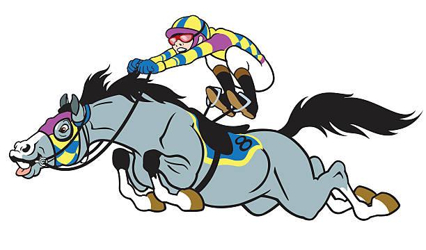comic-pferderennen - reiter stock-grafiken, -clipart, -cartoons und -symbole