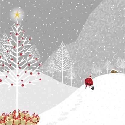 Cartoon illustration of Santa Claus delivering presents