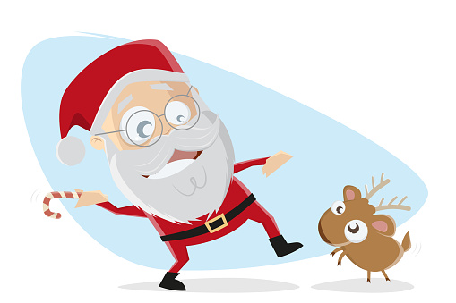 cartoon illustration of santa claus playing stick throwing game with little reindeer