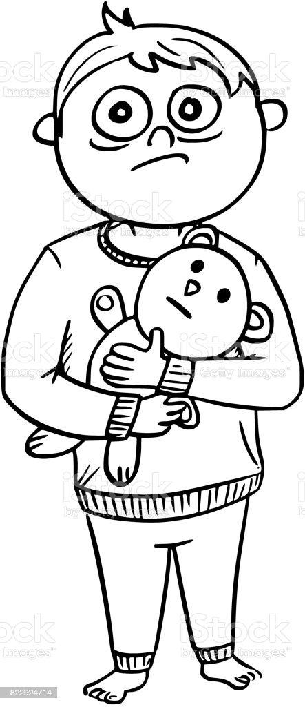 97bb384a67 Ilustración de dibujos animados de niño asustado en pijama sosteniendo un  oso de peluche ilustración de