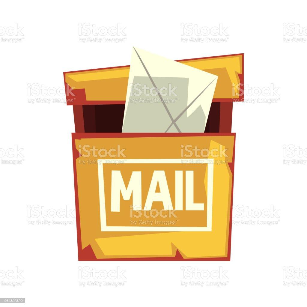 편지 봉투와 초라한 사서함의 만화 그림입니다. 오래 된 노란 거 우편함입니다. 웹 사이트 또는 모바일 응용 프로그램에 대 한 다채로운 평면 벡터 디자인 - 로열티 프리 0명 벡터 아트