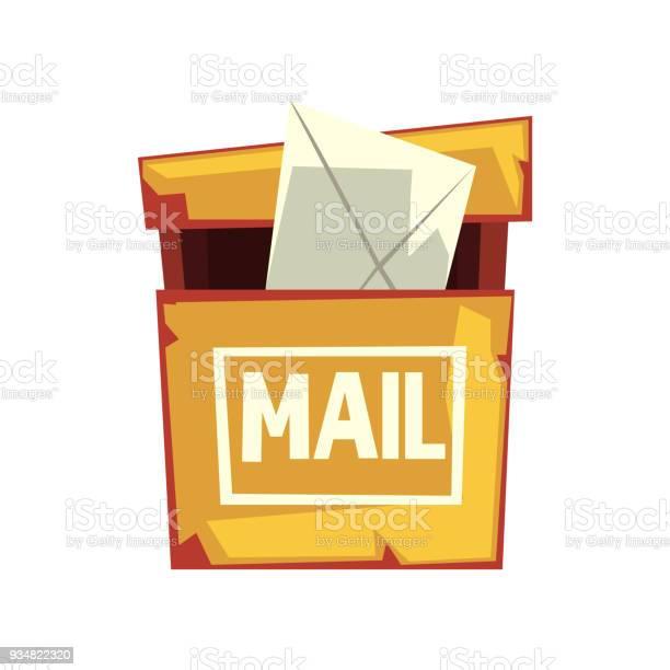 편지 봉투와 초라한 사서함의 만화 그림입니다 오래 된 노란 거 우편함입니다 웹 사이트 또는 모바일 응용 프로그램에 대 한 다채로운 평면 벡터 디자인 0명에 대한 스톡 벡터 아트 및 기타 이미지