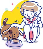 Cartoon vector illustration of a girl sitting and patting the brown colored spot dog on the head while it eating its food