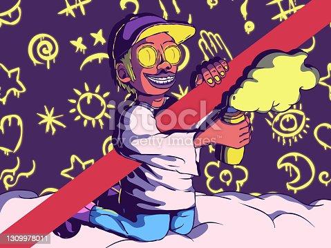 Cartoon illustration of street art - Painter with spray paint.