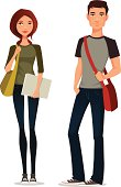cartoon illustration of students in casual clothes