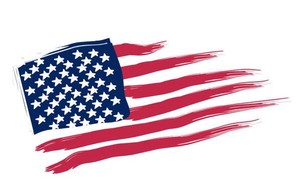 illustrazioni stock, clip art, cartoni animati e icone di tendenza di cartoon illustration of the american flag - trump