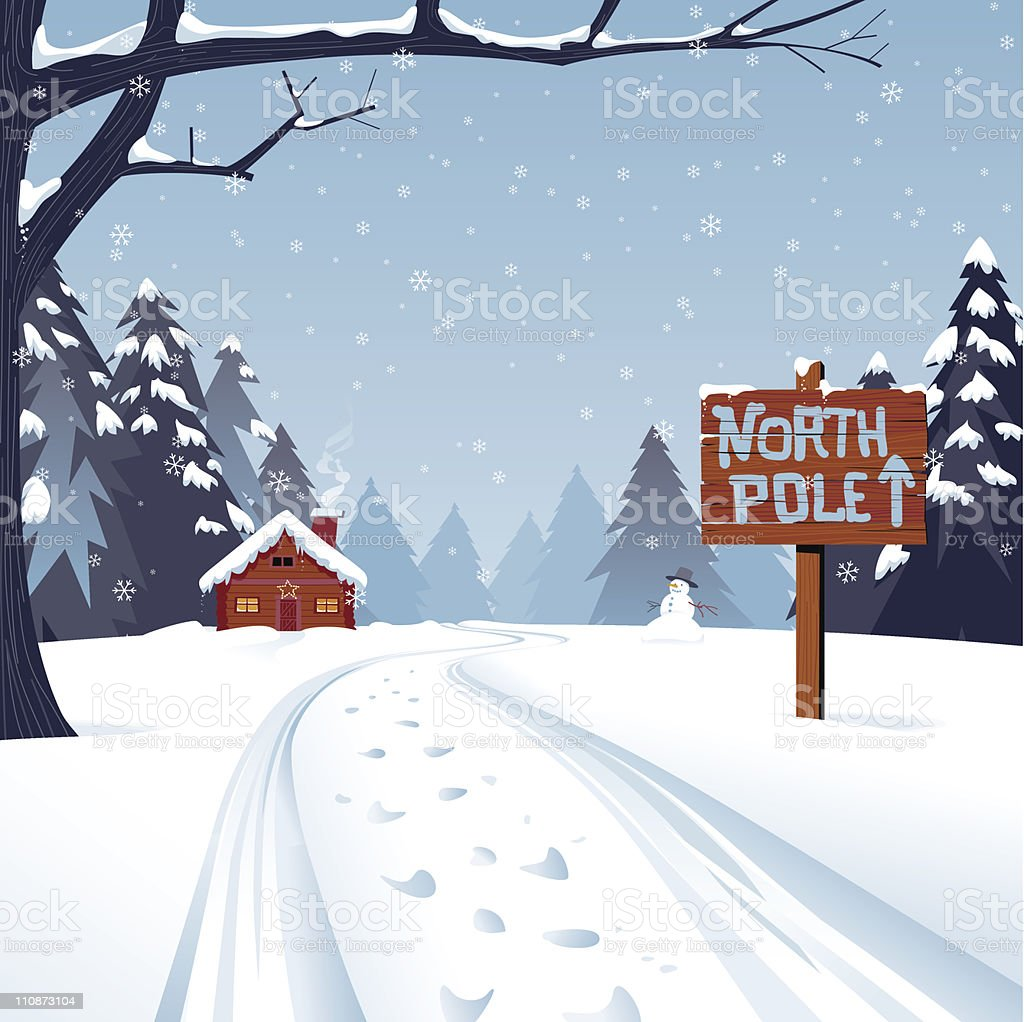 Cartoon illustration of the north pole with trees and snow