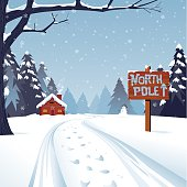 A winter Christmas scene with the trail leading to the North pole. The text is grouped for easy replacement. Global Colors, large JPG included.