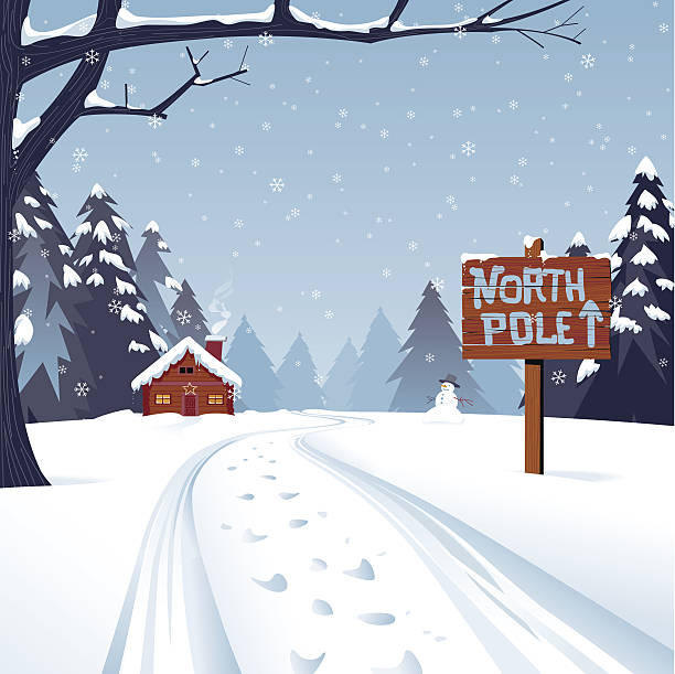 Cartoon illustration of the north pole with trees and snow A winter Christmas scene with the trail leading to the North pole. The text is grouped for easy replacement. Global Colors, large JPG included. north pole stock illustrations