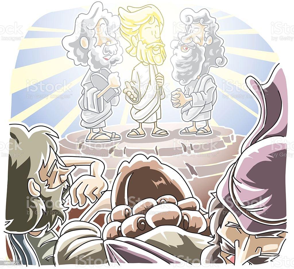 Cartoon illustration of the transfiguration of Jesus - Royalty-free Adult stock vector