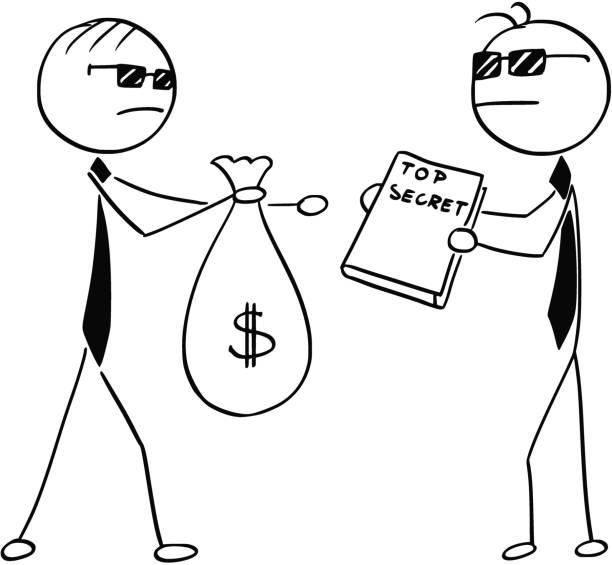 cartoon-illustration von zwei agenten spione geschäftsleuten geheimnisse für geld zu verkaufen - vertrauensbruch stock-grafiken, -clipart, -cartoons und -symbole