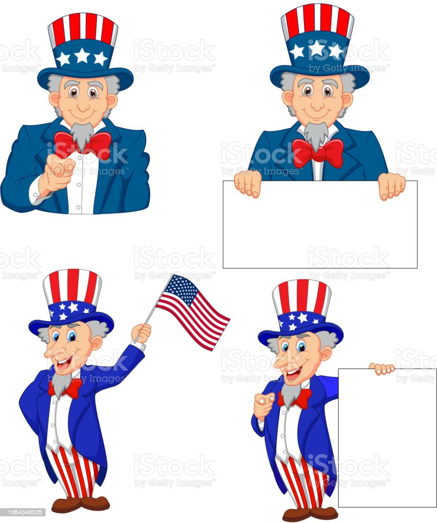 Cartoon illustration of uncle Sam collection set - Векторная графика You're hired - английское выражение роялти-фри