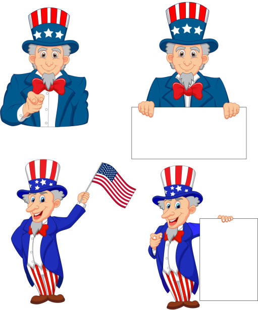 cartoon illustration of uncle sam collection set - family 4th of july stock illustrations