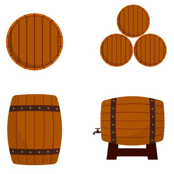illustrazioni stock, clip art, cartoni animati e icone di tendenza di cartoon illustration of wooden barrels isolated on white background - cask