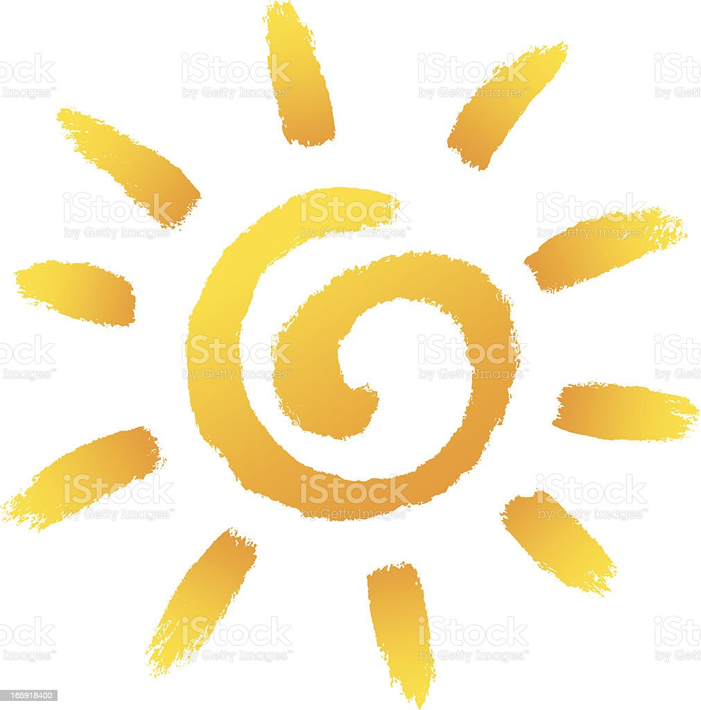 Cartoon illustration of yellow sun upon white background royalty-free stock vector art