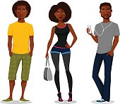 cartoon illustration of young African American people