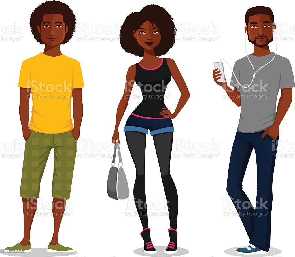 cartoon illustration of young African American people vector art illustration