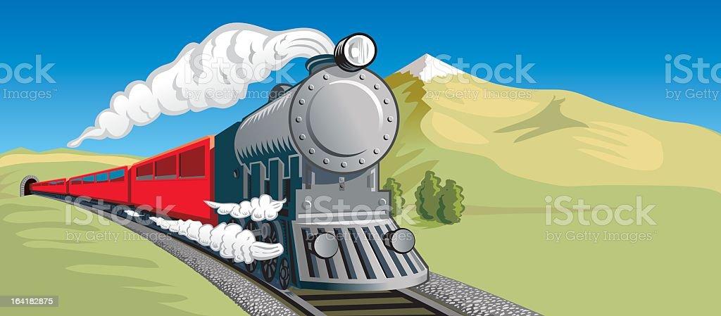 Cartoon illustration on steam train head on vector art illustration