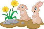 Cartoon illustration rabbit with flower