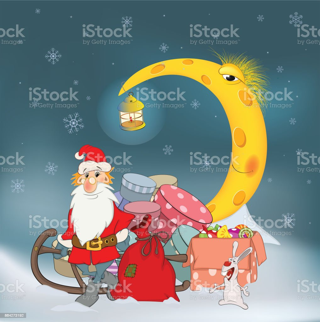 Cartoon Illustration Santa Claus his friends and Christmas gifts Cartoon royalty-free cartoon illustration santa claus his friends and christmas gifts cartoon stock vector art & more images of animal