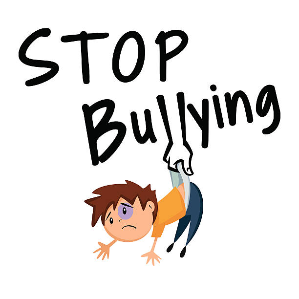 cartoon illustration telling people to stop bullying - child abuse stock illustrations