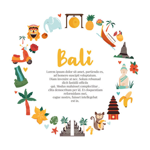 Cartoon illustration with Bali famous landmarks, symbols Cartoon illustration with Bali famous landmarks, symbols indonesia stock illustrations