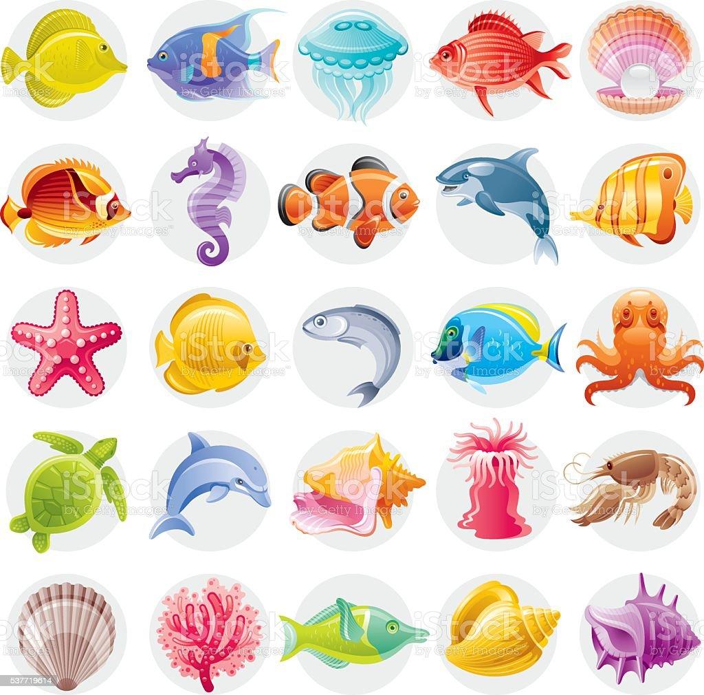 Cartoon illustrations of multicolored ocean creatures vector art illustration