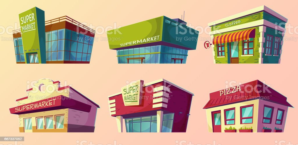 Cartoon Illustrations Retro And Modern Supermarket, Coffee Shop, Pizzeria  Vector Art Illustration