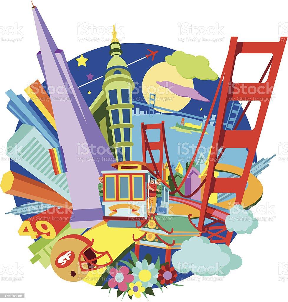 A cartoon image depicting San Francisco vector art illustration