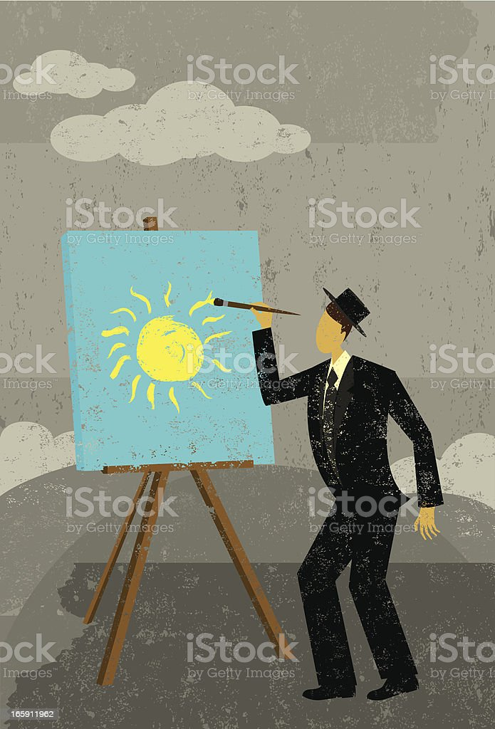 Cartoon image man painting yellow sun against gray sky royalty-free cartoon image man painting yellow sun against gray sky stock vector art & more images of adult