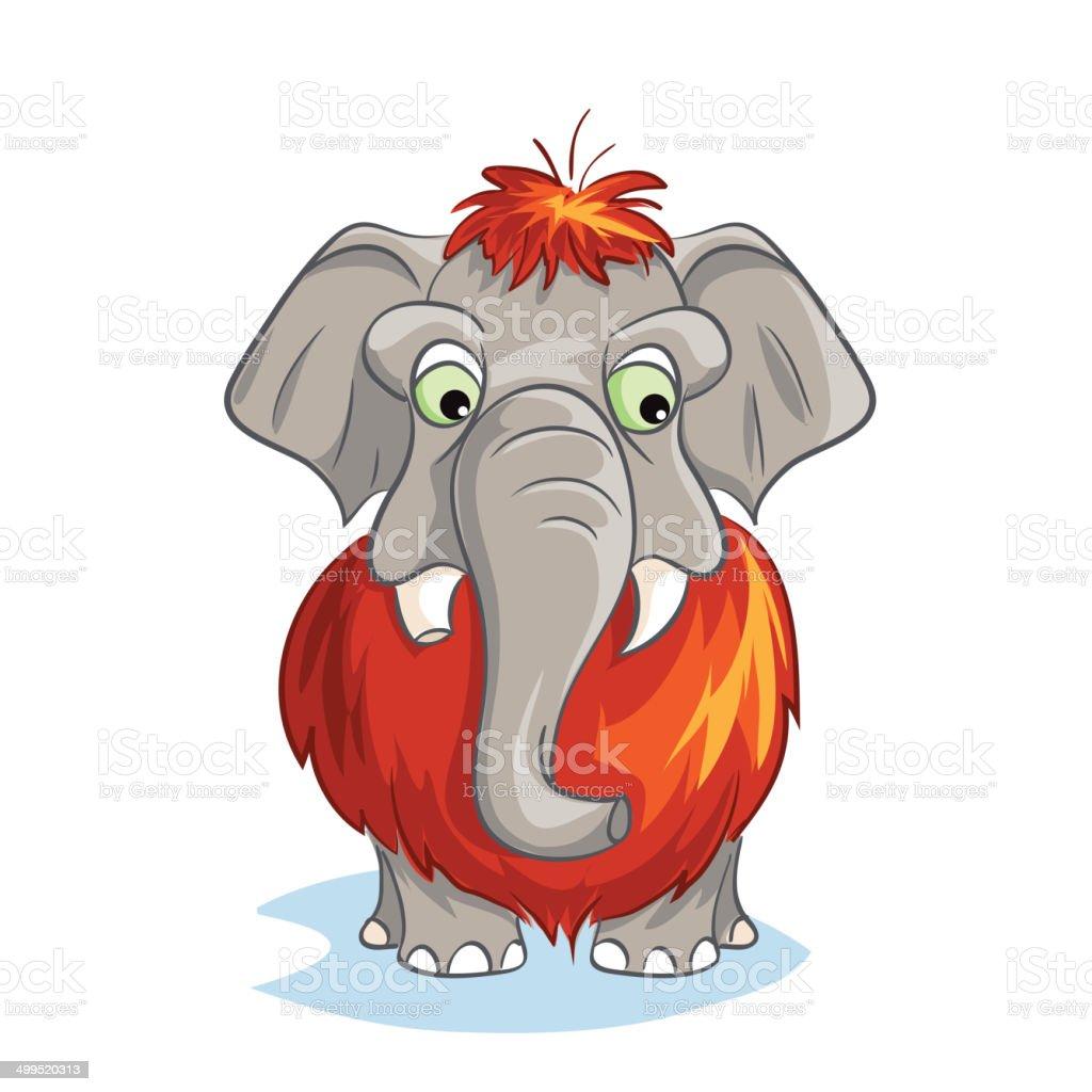 Cartoon image of a baby mammoth royalty-free stock vector art
