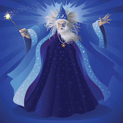 A cartoon image of a blue wizard with a white beard