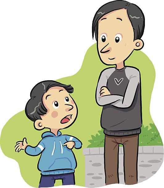 bildbanksillustrationer, clip art samt tecknat material och ikoner med cartoon image of a boy asking a question to his father  - parent talking to child