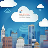 Cloud computing illustration representing the cloud serving the needs of the city and business.