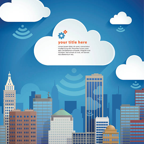 A cartoon image of a city with clouds vector art illustration
