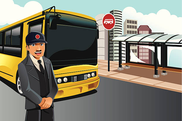 A cartoon image of a driver standing by his yellow bus vector art illustration