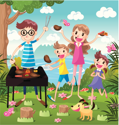 A happy family Barbecue outdoors,vector illustration