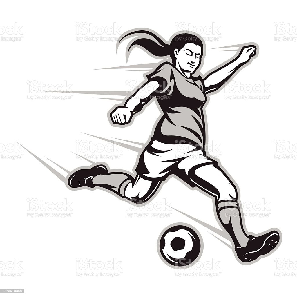 cartoon image of a female football player striking the