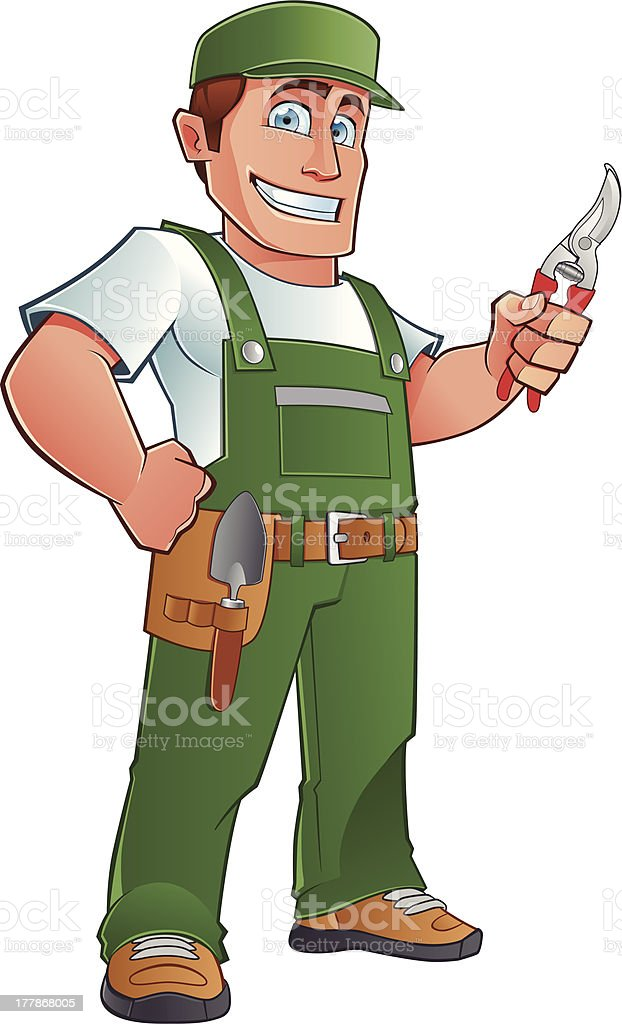 Cartoon image of a gardener holding tools royalty-free stock vector art