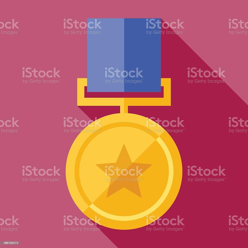 A cartoon image of a gold medal on a pink background vector art illustration