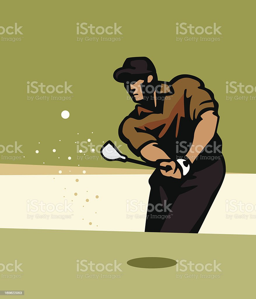 A cartoon image of a golfer in a sand trap royalty-free stock vector art
